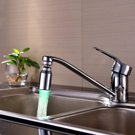 LED Color-changing Contemporary Rounded Copper Kitchen Faucet Spout