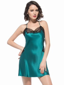 Hollow Back and Lace Waist Trim Mulberry Silk Chemise