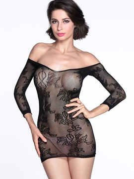 Sexy Off Shoulder Backless Black Hollowed Sexy Floral Pattern Chemises