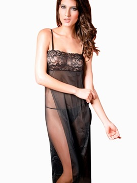 Elegant Long Flowing Gown Features Super Silky Mesh Material With G-String Chemises