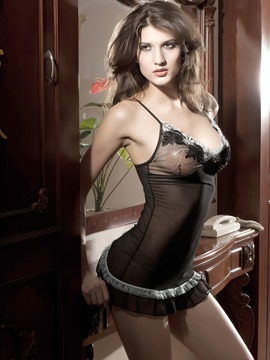 Lace Embroidered Hollow Yarn-Like Tight Body Super Sexy Pajamas Chemises