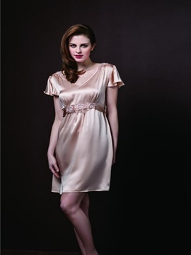 High Quality Graceful Belt Skincare Silk Sleepwear