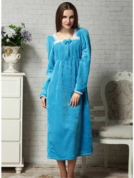 Lovely And Cozy Blue Velvet Winter Nightgown