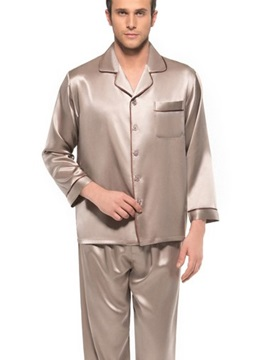 Long Sleeve Open Collar One Patch Pocket Silk Pajamas