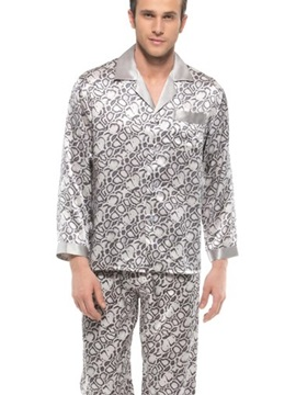 Fashionable Snake Skin Pattern Open Collar Silk Men Pajamas