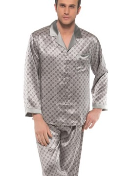 Elegant Stylish Patterns Open Collar One Pocket Long Sleeve Silk Pajamas