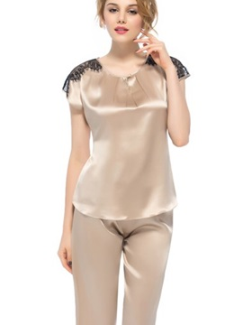 Beautiful Classic Pleated Scoop Neckline Lace Trim Silk Pajamas