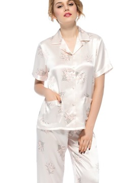Top Quality Pretty Notched Collar Short Sleeves Silk Wrapped Button Pajamas