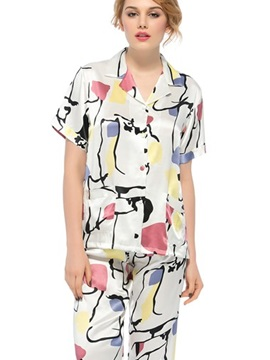 Pretty Wonderful Notched Collar Short Sleeve Silk Wrapped Button Pajamas
