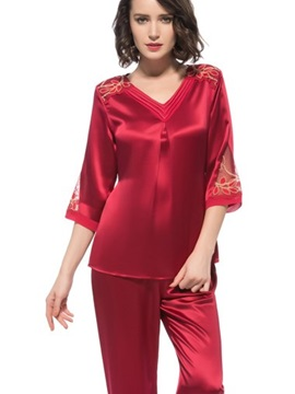 Beautiful Lace Along Shoulder and Cuff Folded Silk Pajamas
