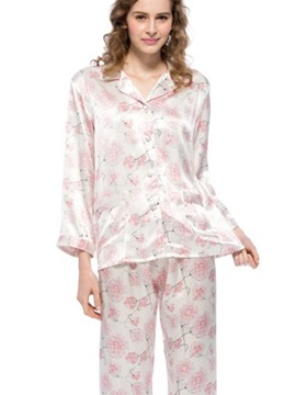 New Classic Elegant Flowers Print Mulberry Silk Pajamas