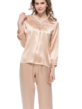 Top Selling Wonderful Champagne Mulberry Silk Pajamas