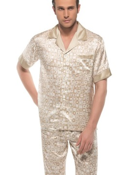 Stylish Apricot Checks Print Open Collar One Pocket Silk Pajamas