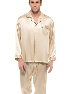 Second Skin Apricot Open Collar One Pocket Long Sleeve Pajamas