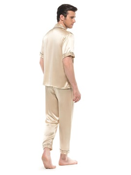 Stylish Soft Silk Lilac Open Collar Button Pajamas