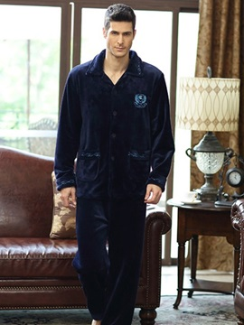 Comfortable Dark Blue Patched Pockets Flannel Male Pajamas Set