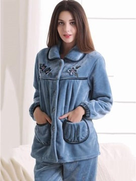 High Quality Cute Patched Pockets Flannel Lady Pajamas Set