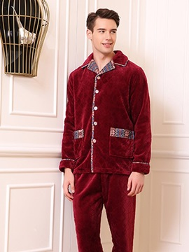 Classic Noble Style Men's Flannel Pajamas Sets