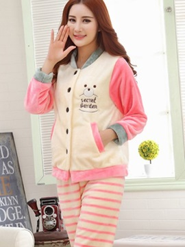 Lovely And Pink Style With Cute Stripe Warm Pajamas