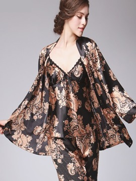 Three Piece Floral Beautiful Style Charming Pajamas