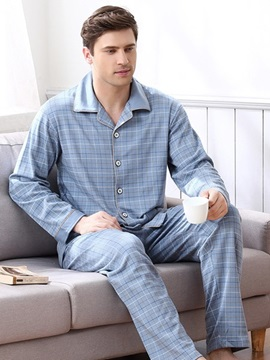Man Comfortable Plaid Simple Design Spring Autumn And Winter Necessary Pajamas
