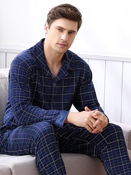 Man Deep Blue Charming Fashion Strip Pattern Cotton Pajamas