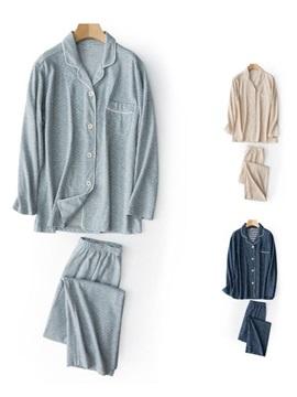 New Fashion V Collar Simple Style Cotton 100% Pajamas