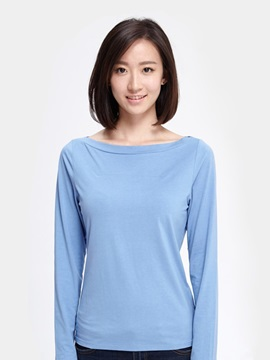 Simple One-Neck Long-Sleeved Women's T-Shirt Popular Home Dress