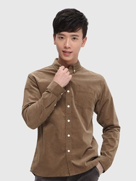 New Stretch Corduroy Men 's Long - Sleeved Shirt