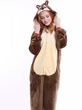 Halloween Brown Chipmunk Flannel One-Piece Stretchable Pajama Jumpsuit