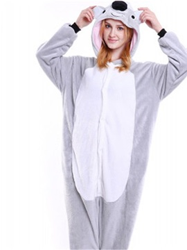 Halloween Lovely Koala Flannel One-Piece Stretchable Pajama Jumpsuit