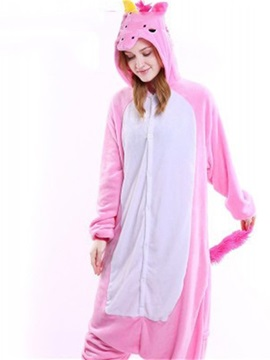 Halloween Rose-Carmine Unicorn Flannel One-Piece Stretchable Pajama Jumpsuit