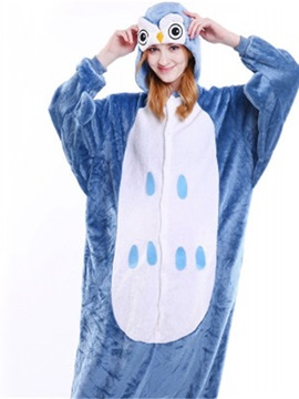 Halloween Blue Owl Flannel One-Piece Stretchable Pajama Jumpsuit