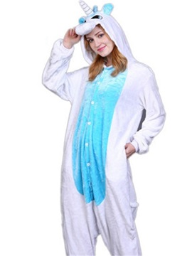 Halloween Blue Unicorn Flannel One-Piece Stretchable Pajama Jumpsuit