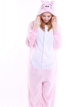 Halloween Pink Piggy Flannel One-Piece Stretchable Pajama Jumpsuit