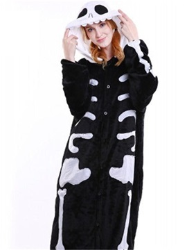 Halloween Black Skull Flannel One-Piece Stretchable Pajama Jumpsuit
