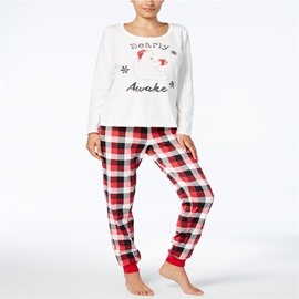 Fashion and Elegant Lattice Pattern Creative Twinset Family Christmas Pajamas