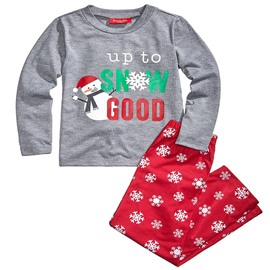Creative and Elegant Letter with Snowflake Pattern Red Twinset Polyester Family Christmas Pajamas