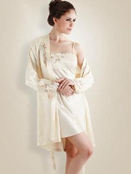 Super Elegant Sweet Beige Floral Design Loungewear