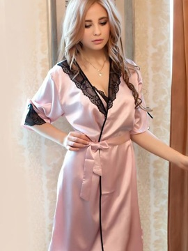 Graceful Smooth Adorable Lace Pink Female Loungewear