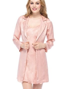Unique Design Notched Collar Belted Robe Set