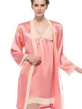 Wide Contra Trim Bowknot Silk Robe and Chemise Set