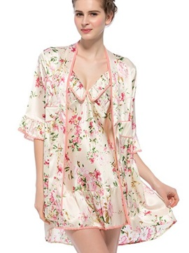 Floral Print Ruffle Trim Belted Silk Robe