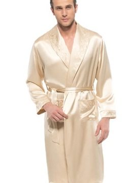 Embroidery Collar Two Roomy Patch Pocket Turndown Belted Silk Robe