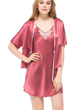 Elegant Flower Embroidered Bust Silk Robe and Chemise Set