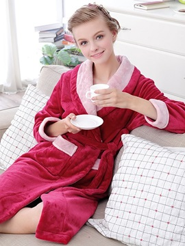 High Class Noble Dark Red Flannel Women's Robe