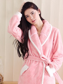 European Style Concise Design Women's Flannel Robe