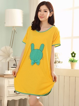 Cotton Contra Edge Round Neck Yellow  Sleepshirt