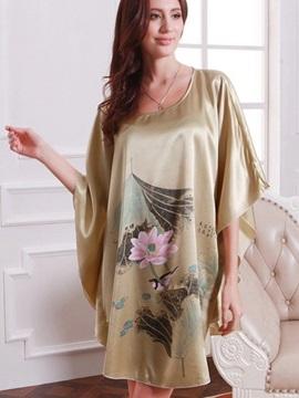 Summer Womens Silk Nightgowns Stain Short Sleeve Sleepwear Night Dress Robes Sleepshirts
