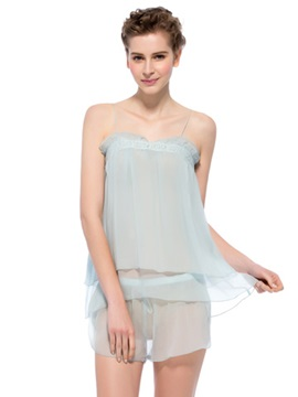 Graceful Light Blue Floral Border Mulberry Silk Cami and Short Set